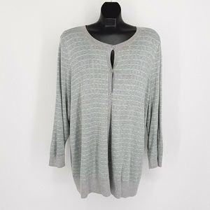 Halogen Cardigan Sweater Women 3X Grey Striped Lon